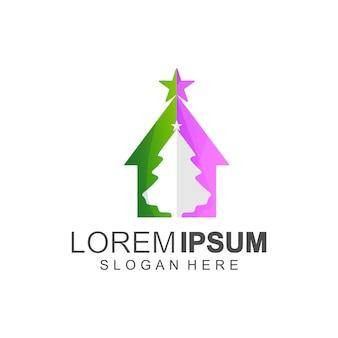Desenhos de logotipo de casa de natal em cores