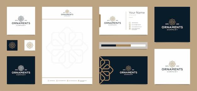Desenhos de logotipo de ornamentos com cartão de visita e papel timbrado gratuitos