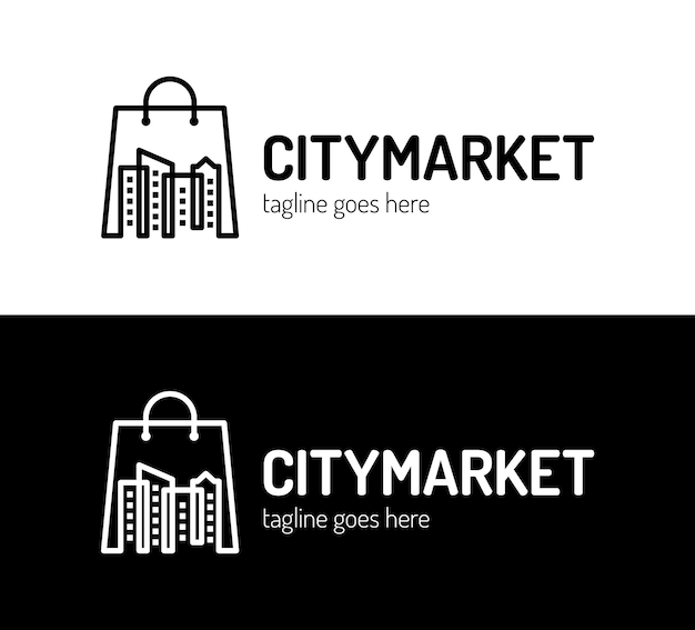 Desenhos de logotipo do mercado da cidade