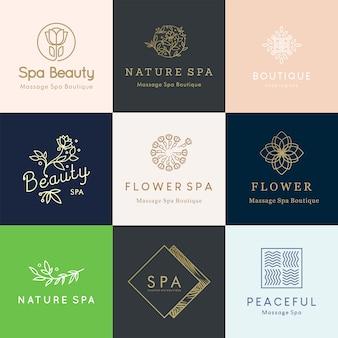 Desenhos de logotipo floral editável feminino para o conceito de beleza e bem-estar