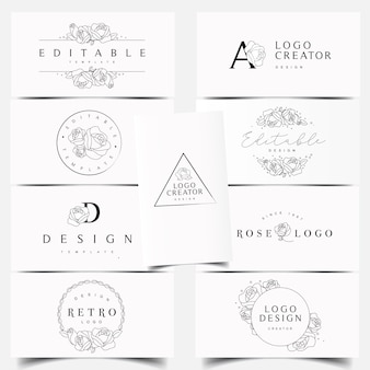 Desenhos de logotipo rose editáveis