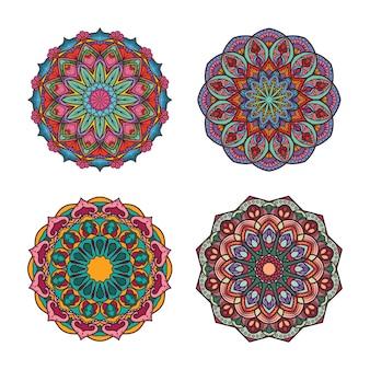 Desenhos de mandala coloridos intrincados