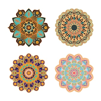Desenhos de mandala intrincados multicoloridos