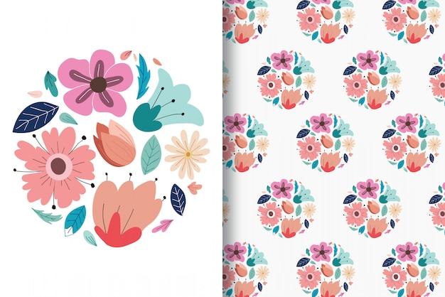 Desenhos de mão de flor colorida com padrão