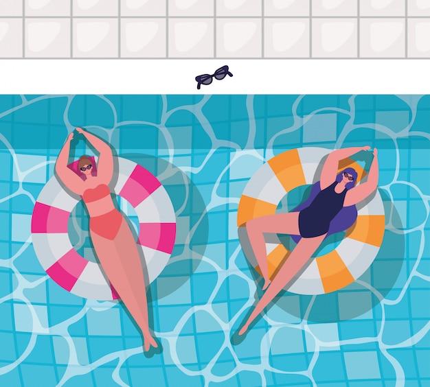 Desenhos de meninas em carros alegóricos no design de vetor de vista superior da piscina