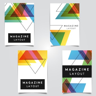 Desenhos de modelo de layout de revista abstrato vetorial
