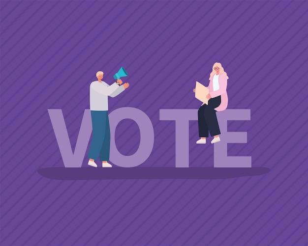 Desenhos de mulher e homem com placa de cartaz e megafone no design de fundo roxo, dia das eleições de votação