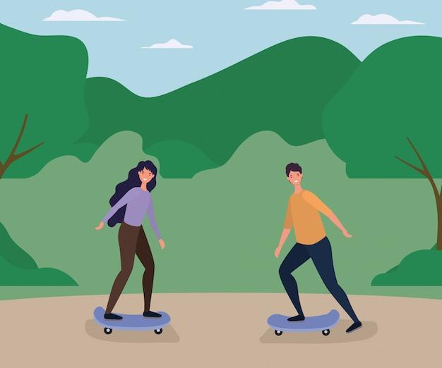 Desenhos de mulher e homem no skate no desenho vetorial do parque