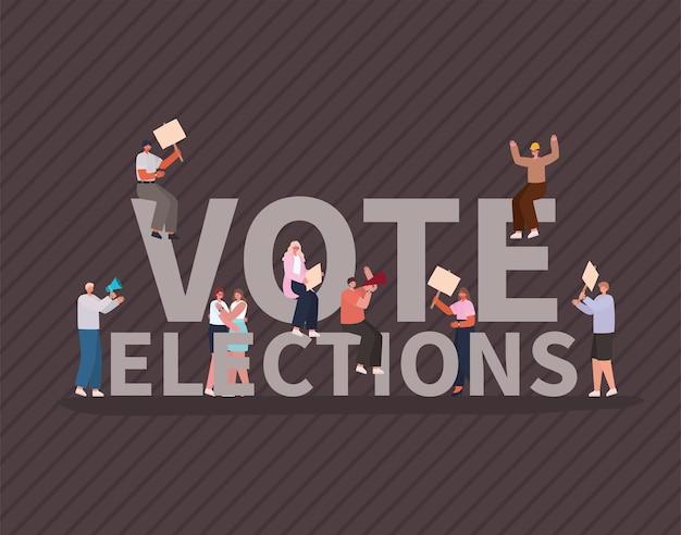 Desenhos de mulheres e homens com cartazes de votação e design de megafone, dia das eleições