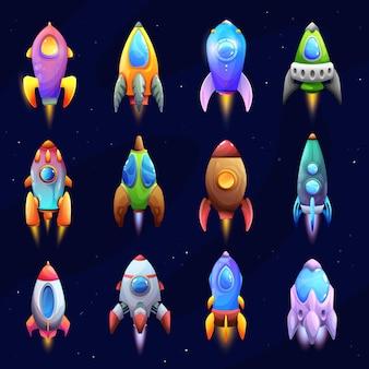 Desenhos de naves espaciais, foguetes e naves espaciais