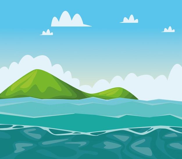 Desenhos de paisagem de mar e montanhas