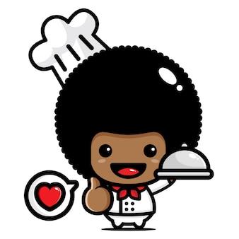 Desenhos de personagens chef afro fofos