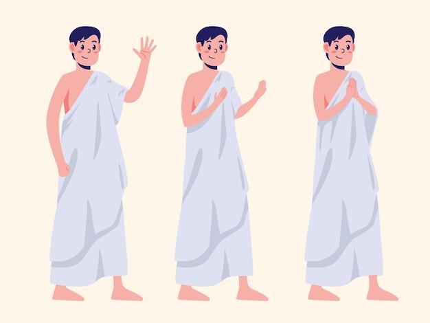 Desenhos de personagens de homens vestidos com roupas de hajj