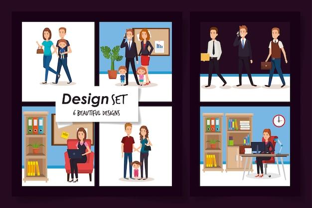 Desenhos de pessoas de negócios com os membros pais