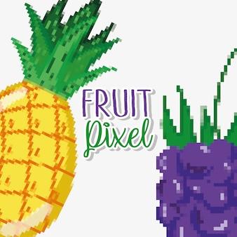 Desenhos de pixel de frutas