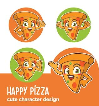 Desenhos de pizza de mascote ou adesivo