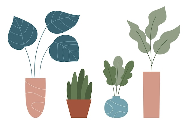 Desenhos de plantas de interior desenhados à mão em vasos e vasos