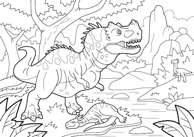 Desenhos de pré-histórico dinossauro predador ceratosaurus, foi caçar, livro para colorir