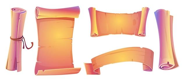 Desenhos de rolos de pergaminho, rolos em branco e faixas de papel