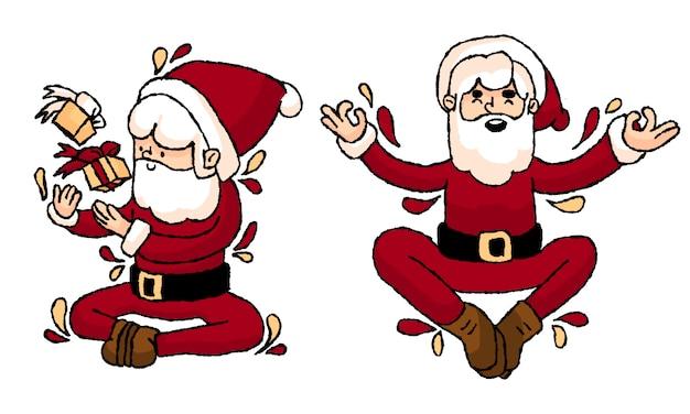 Desenhos de santa handrawn despreocupado de natal