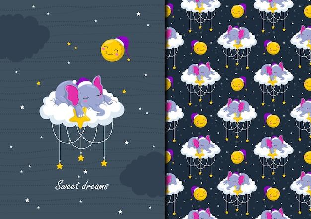 Desenhos de seamles desenhados à mão e elefante bebê dormindo nas nuvens