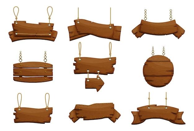 Desenhos de sinais de madeira de várias formas