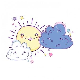 Desenhos de sol e nuvens