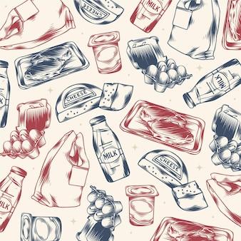 Desenhos de supermercado gravados desenhados à mão