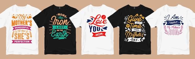 Desenhos de t-shirt da mãe com citações de letras