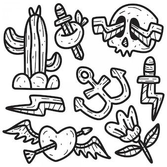 Desenhos de tatuagem de doodle desenhado à mão