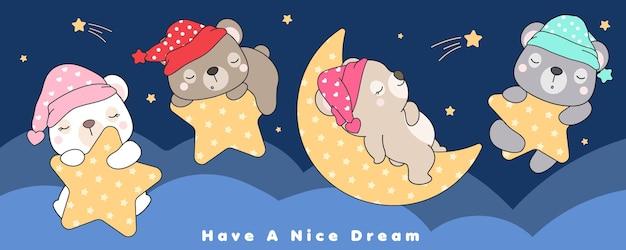 Desenhos de ursos fofos dormindo na estrela e na lua
