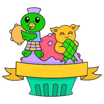 Desenhos de vários acessórios e bonecos celebram o eid, a arte da ilustração vetorial. imagem de ícone do doodle kawaii.