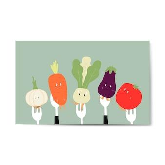 Desenhos de vegetais frescos no vetor de garfos