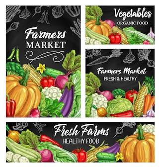 Desenhos de vegetais no quadro-negro