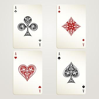 Desenhos de vetor de cartas de jogar quatro ases mostrando cada um dos quatro naipes em vermelho e preto, conceituais de um cassino e jogos de azar