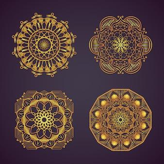 Desenhos decorativos de mandala dourada