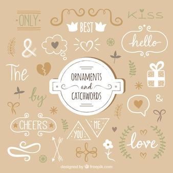 Desenhos decorativos e catchwords