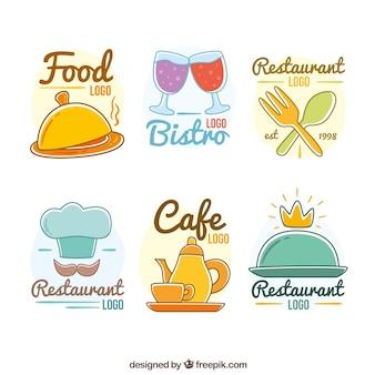 Desenhos desenhados e divertidos logótipos de restaurantes