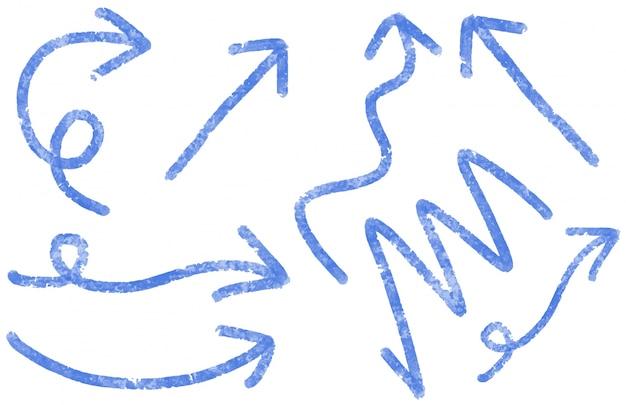 Desenhos diferentes para setas de cor azul