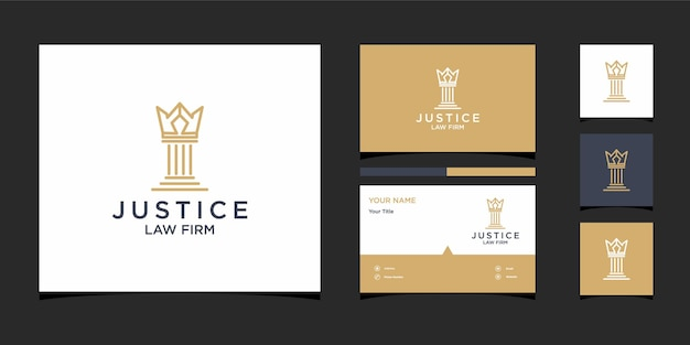 Desenhos do logotipo do escritório de advocacia king com pacote de identidade da marca