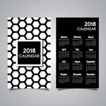 Desenhos em preto e branco do calendário de padrões