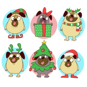 Desenhos engraçados de pugs