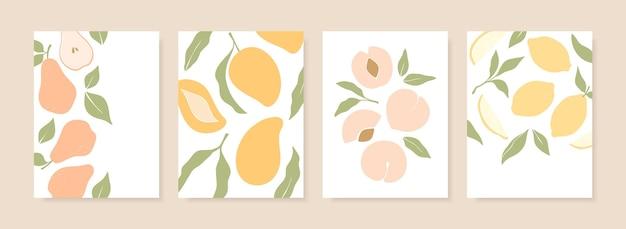 Desenhos estilosos de capa com frutas de verão