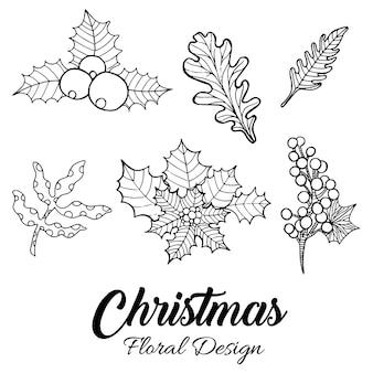 Desenhos florais de natal desenhados à mão