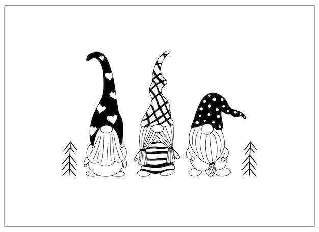 Desenhos fofos de gnomos desenhados à mão