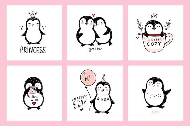 Desenhos fofos de pinguins com ilustrações de animais isolados em arte ingênua
