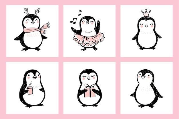 Desenhos fofos de pinguins com ilustrações de animais isolados em arte ingênua Vetor Premium
