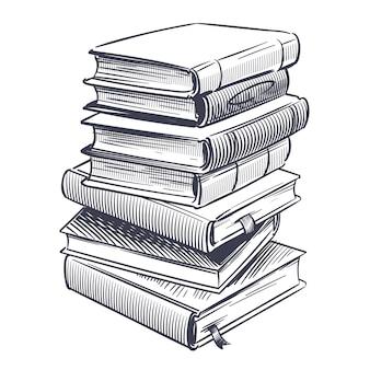Desenhos gravam pilha de dicionário vintage antigo e livro de pesquisa de estudo
