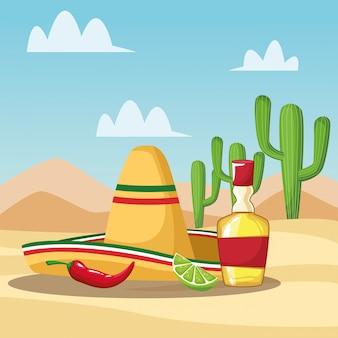 Desenhos mexicanos de tequila