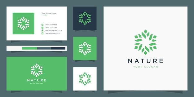 Desenhos modernos de flores, logotipos e modelos de cartões de visita